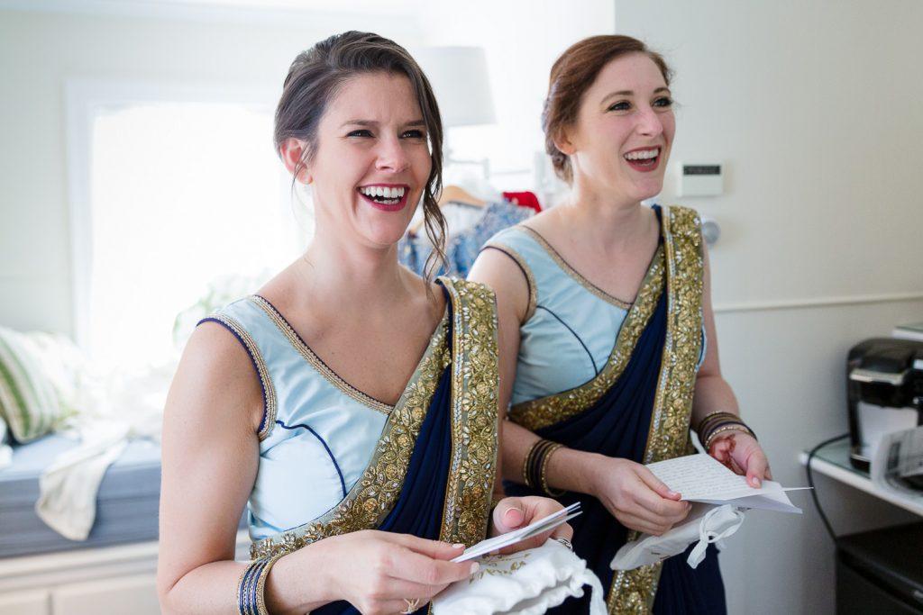 bridesmaids in indian saris laugh