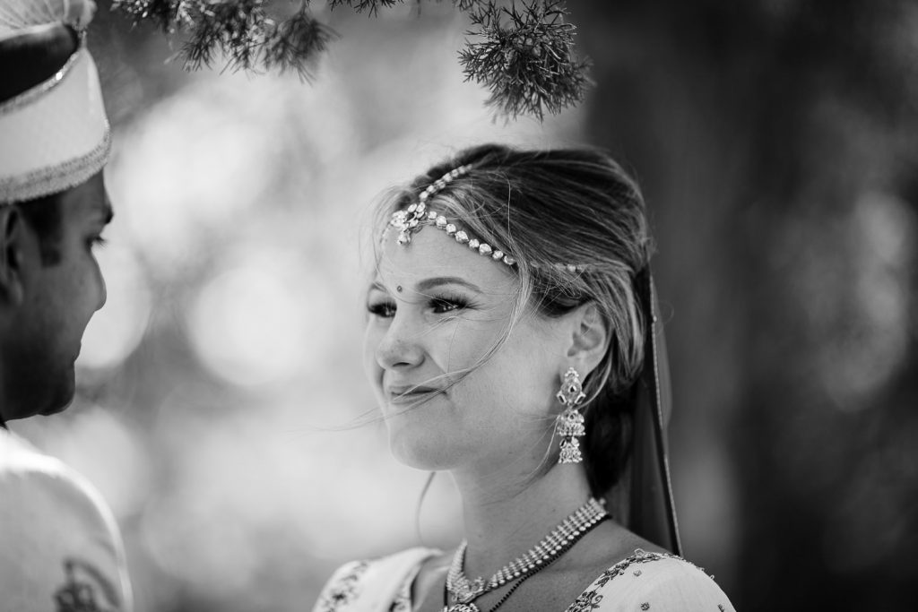 bride wearing indian headress