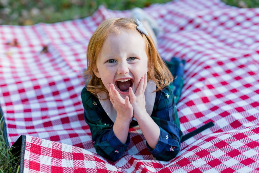 A little girl lays on her stomach on a red and white gingham picnic blanket