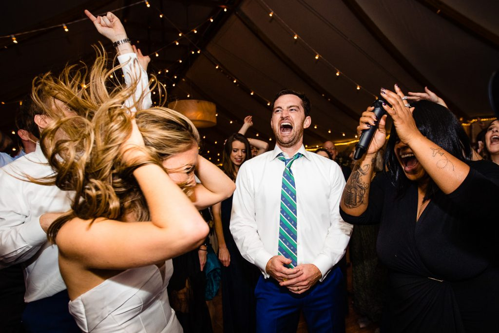 crazy dancing at wedding reception