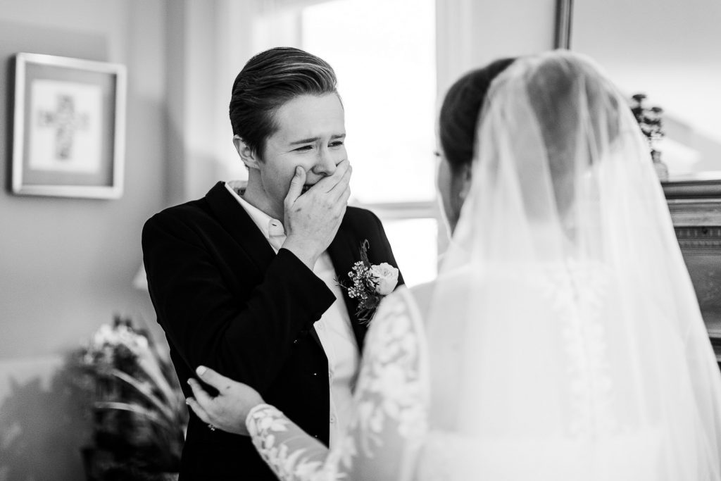 Two brides are speechless as they see each other for the first time on their wedding day