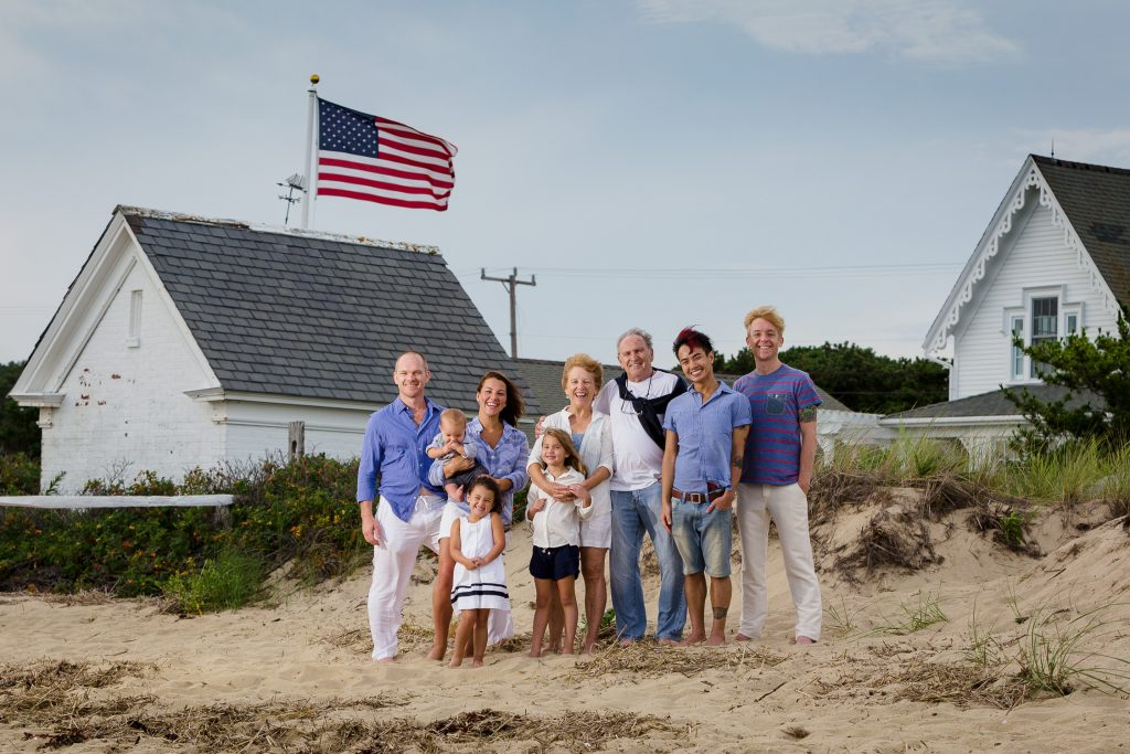 Family poses on mayo beach wellfleet during family photo session