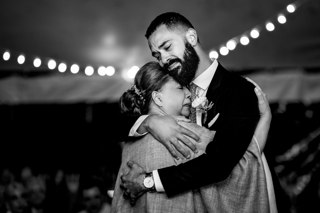 Groom hugs his mom at North Kingstown RI wedding