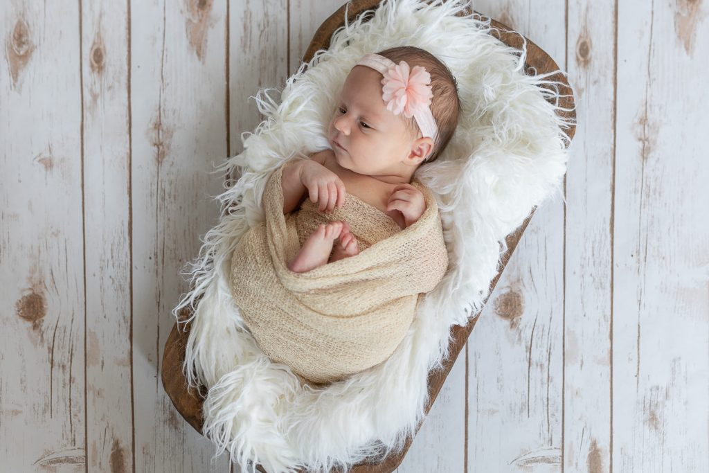 A posed newborn baby photo in a wooden bowl with white fur on white barnwood flooring