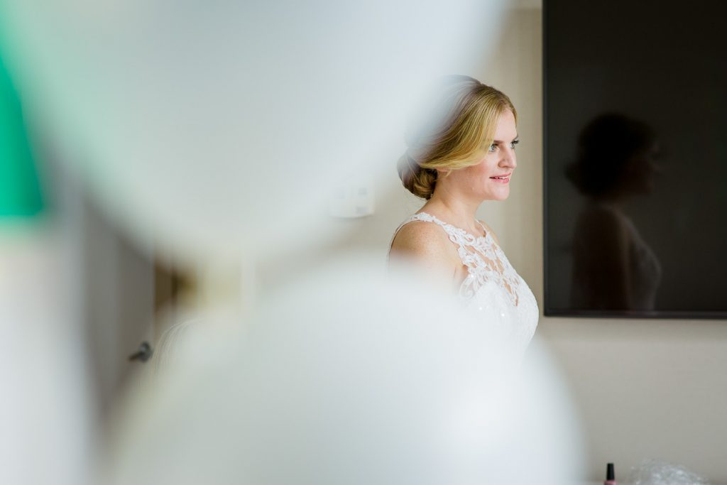The bride getting ready in a suite at Newport Marriott