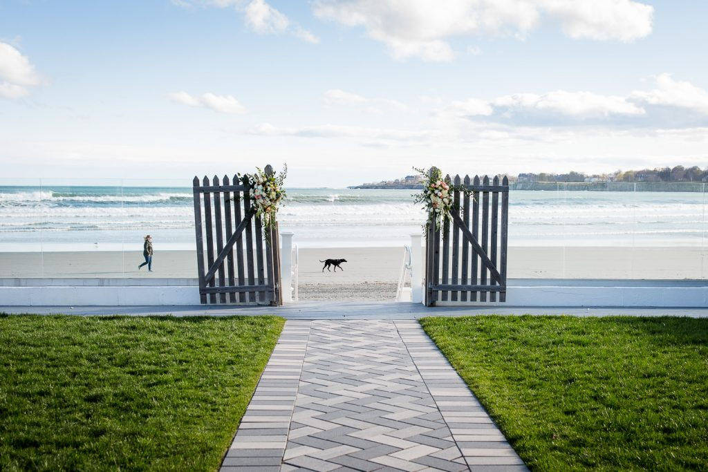 The view of the beach from the wedding lawn at Newport Beach House