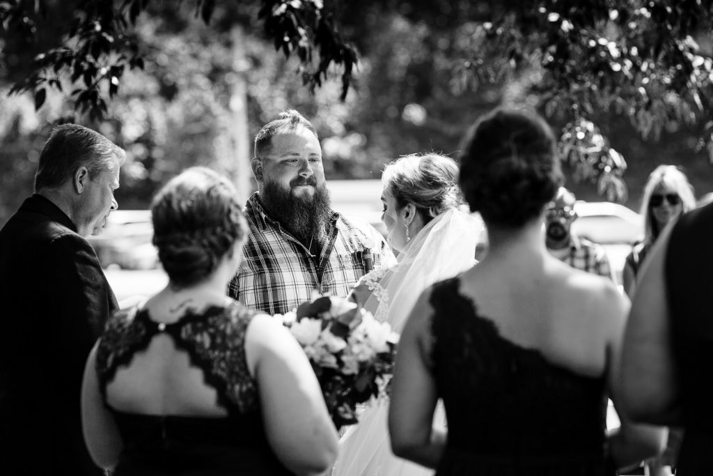Wedding ceremony photography at an outdoor wedding at the 228 in Sterling, MA
