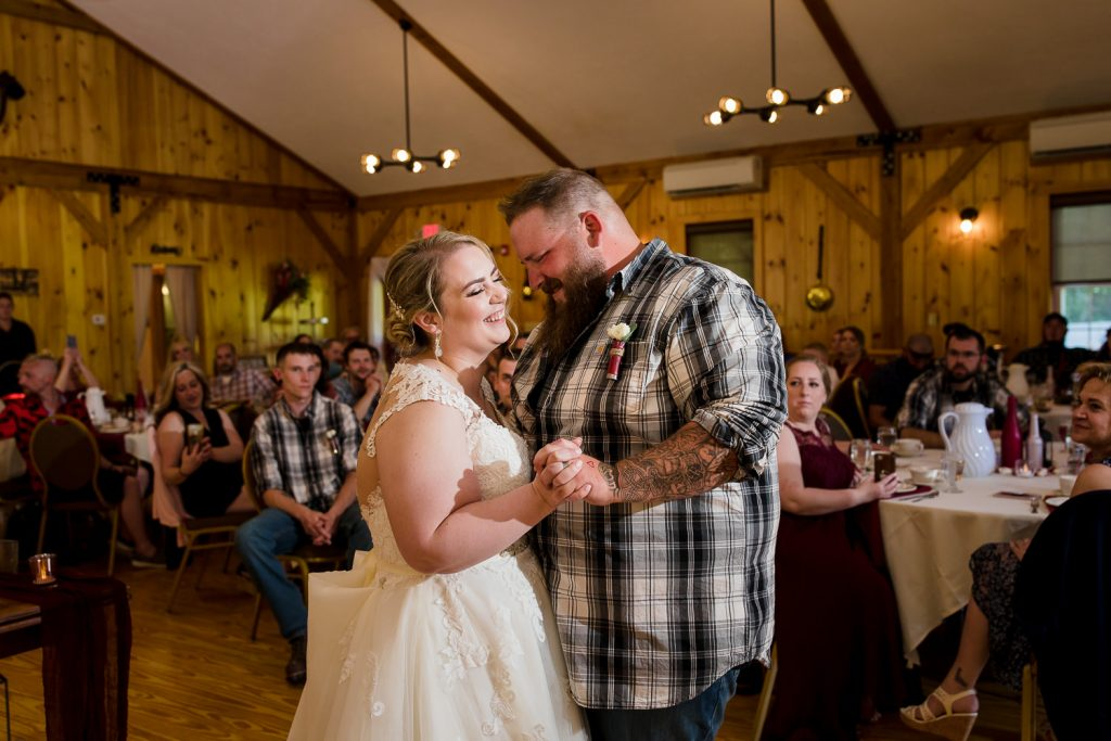 Wedding first dance photography at a central MA barn wedding.
