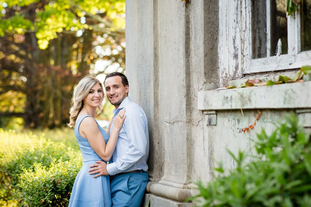 A couple in light blue clothing at their Harkness Park engagement session in Waterford, CT