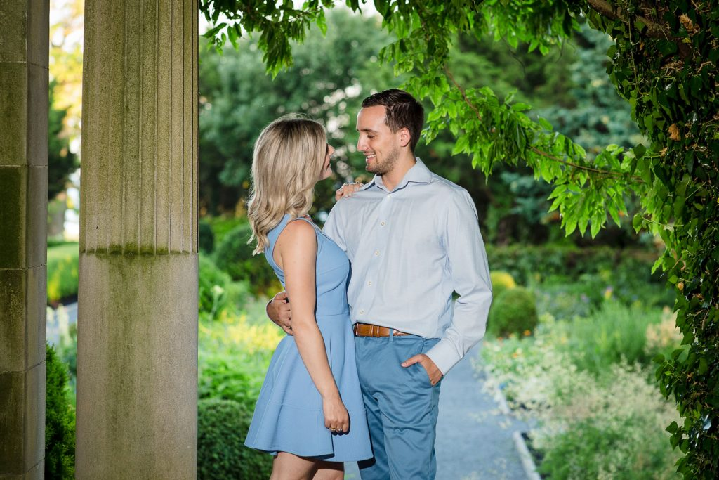 A couple does engagement photos at Eolia Mansion in Connecticut