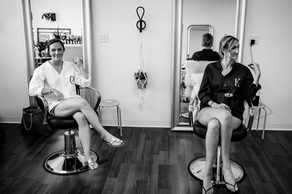 Bride getting ready at Rooted Studio in Bristol, RI for her wedding