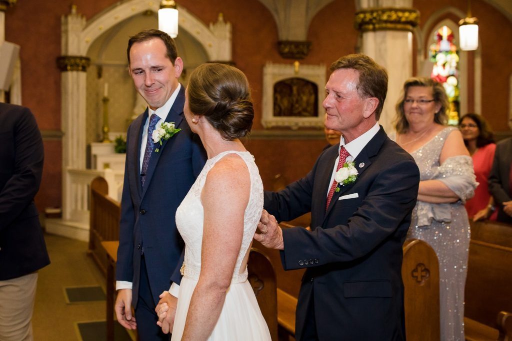 Wedding ceremony at St. Mary's church in Bristol, RI