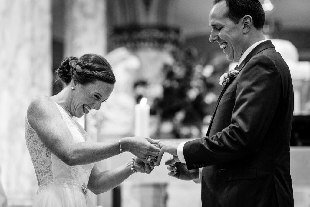 Wedding ceremony at St. Mary's church in Bristol, RI