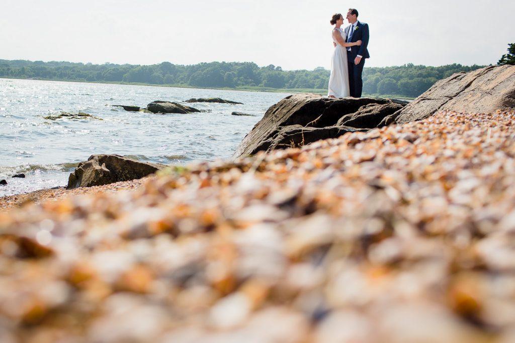 Bridal portraits on the beach at Mt. Hope Farm in Bristol, RI wedding