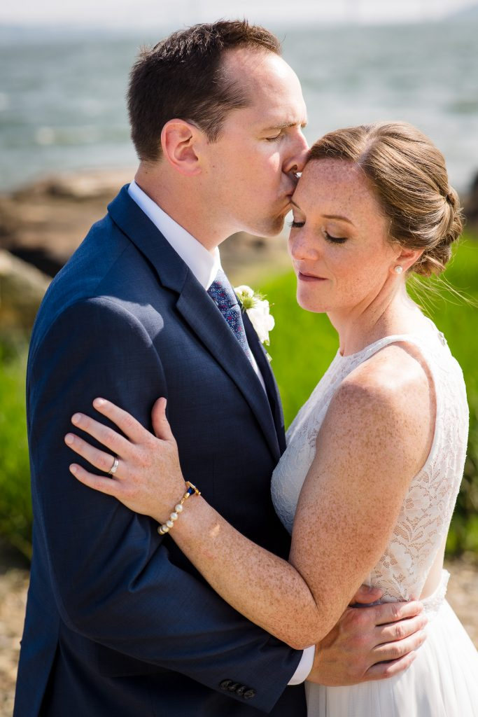 Bridal portraits on the beach at Mt. Hope Farm in Bristol, RI wedding