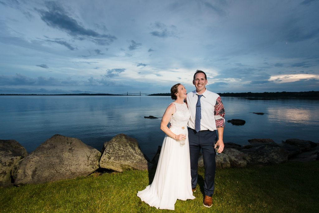 Bride and groom wedding portraits at sunset at mt. hope farm in bristol RI