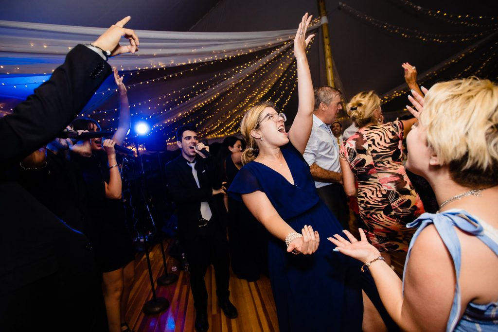 Wedding reception dancing under the tent at Mt. Hope Farm in Bristol RI
