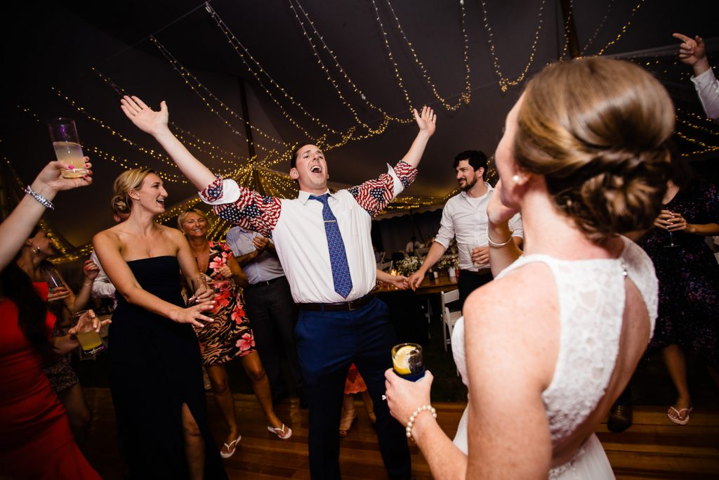 Wedding reception dancing under the tent at Mt. Hope Farm in Bristol RI