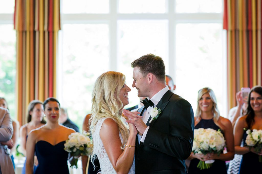 First dance during wedding reception at Foxwoods Casino Lake of Isles Golf Club