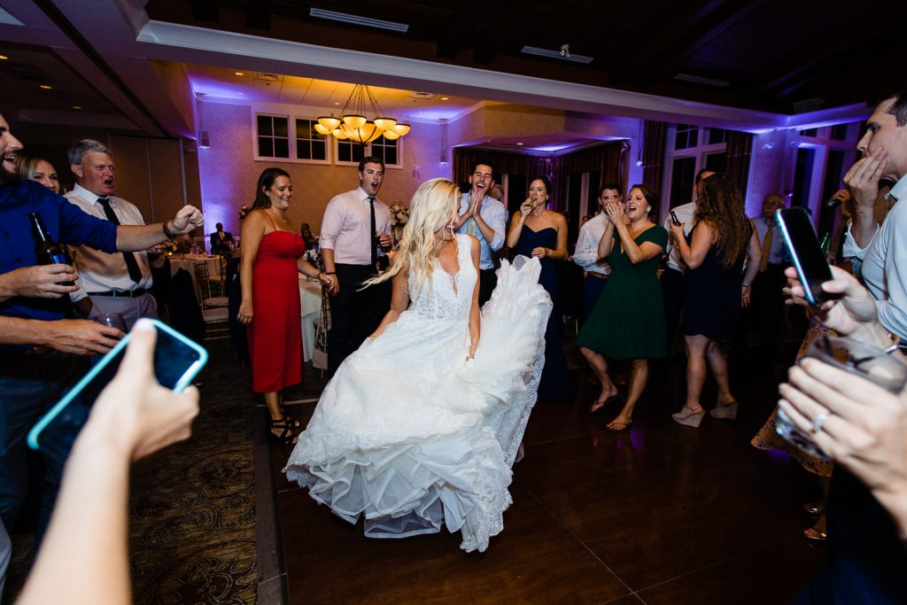 Bride dances at Lake of Isles Foxwoods CT wedding