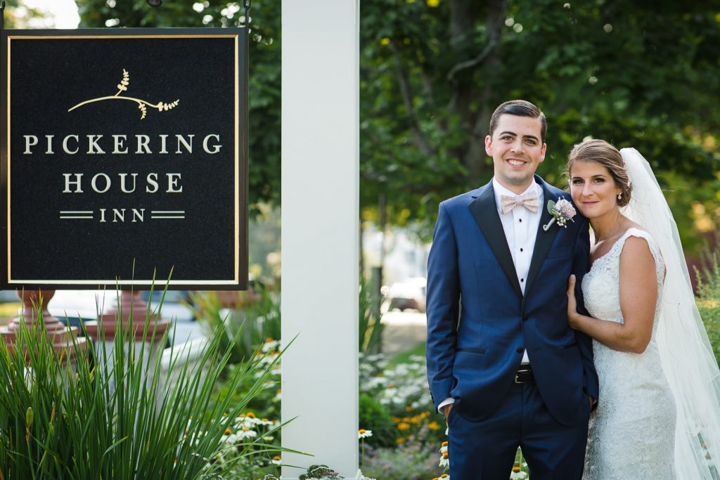 The bride and groom pose for a wedding portrait at the Pickering House in Wolfeboro, NH Wedding