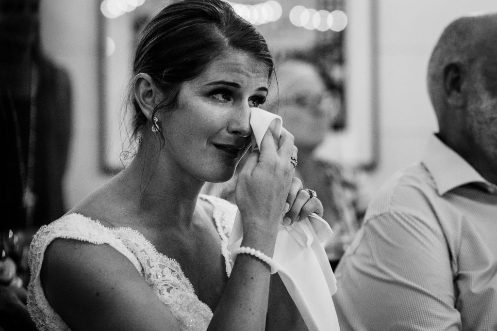 The bride tears up watching the groom dance with his grandmother at The Barn at Pickering House wedding