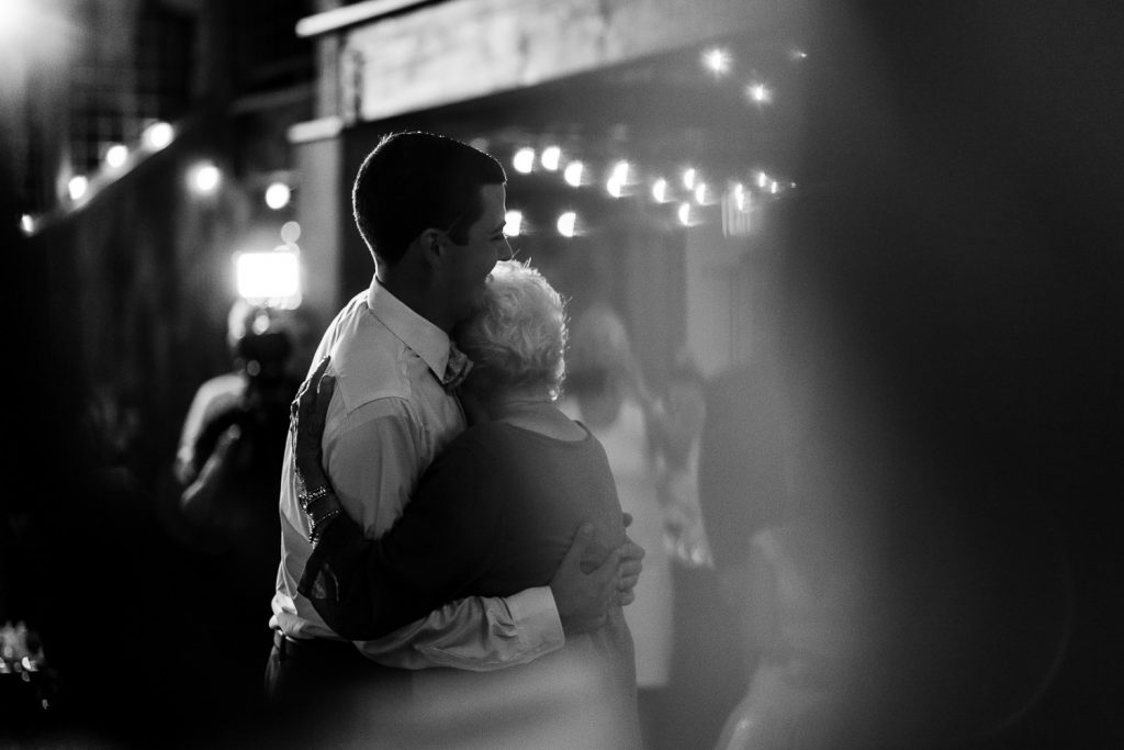 The groom dances with his grandmother at The Barn at Pickering House in Wolfeboro, NH at his wedding