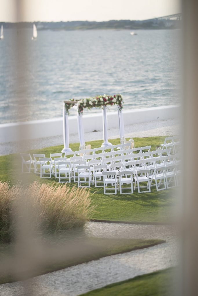 Outdoor ceremony at belle mer newport wedding