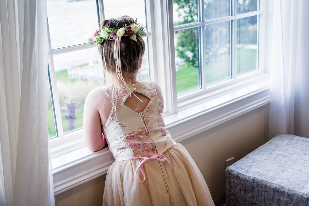 flower girl at belle mer newport wedding
