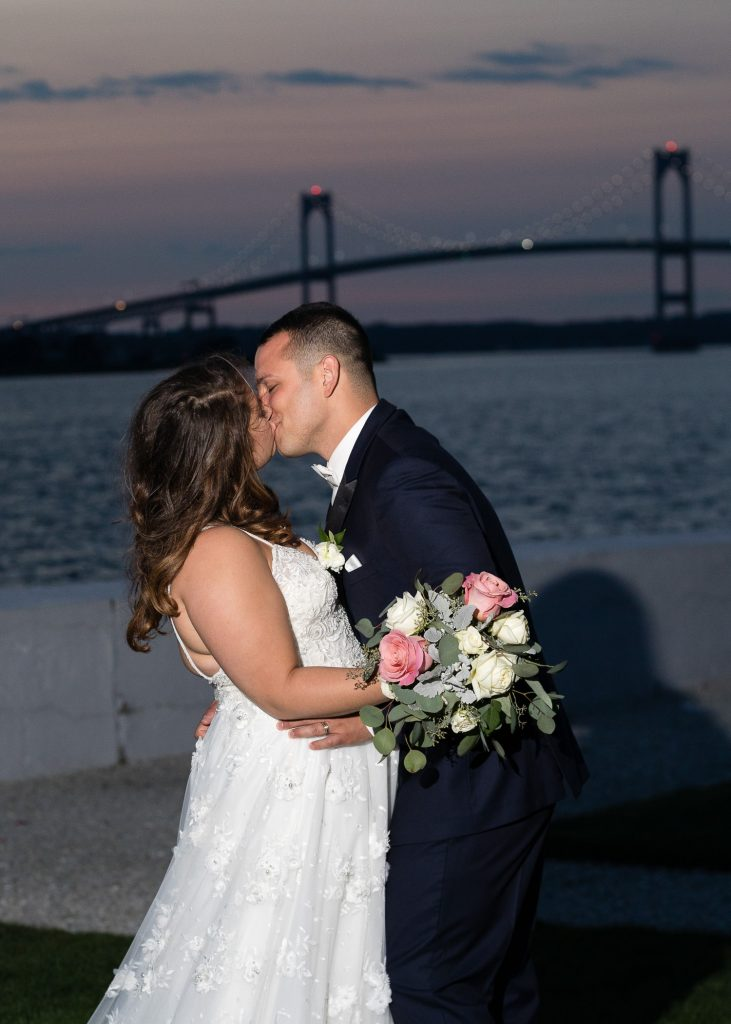 night wedding photo at belle mer in newport ri