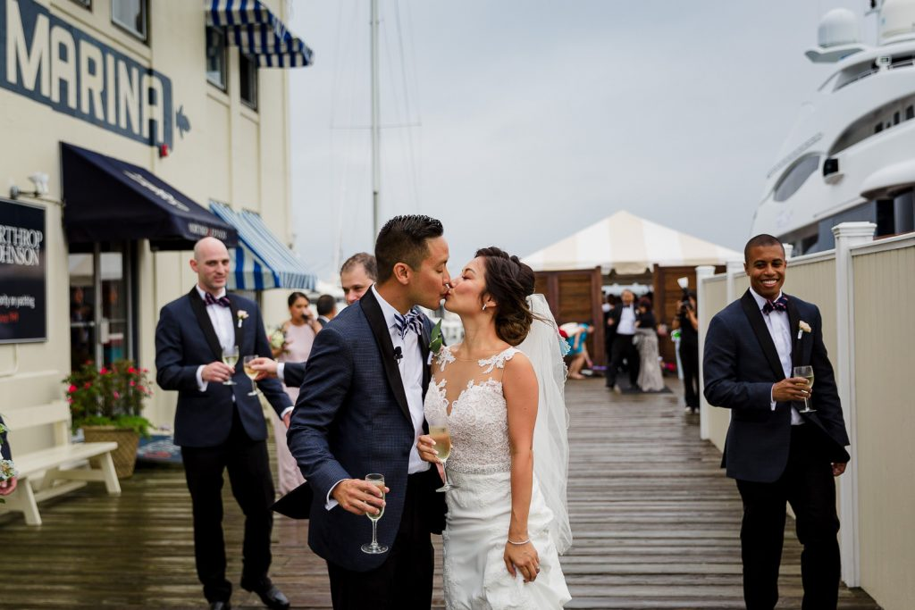 Wedding ceremony on dock at Regatta Place in Newport RI
