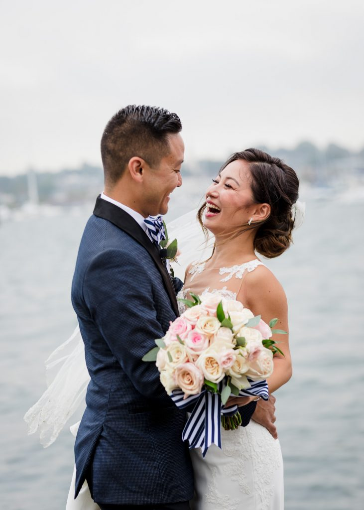 Rainy wedding portraits at Regatta Place in Newport RI