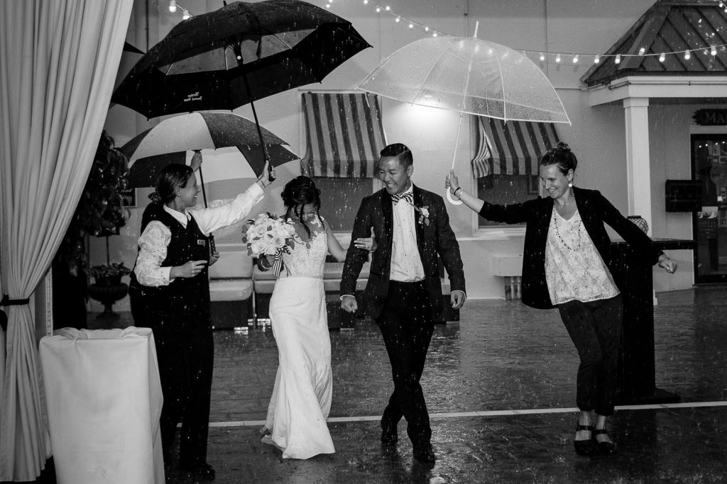 Rainy tent reception at Regatta Place in Newport, RI