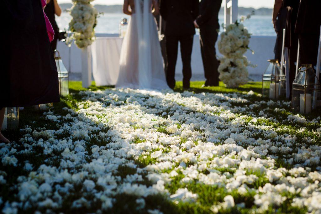 flower petal wedding ceremony walkway