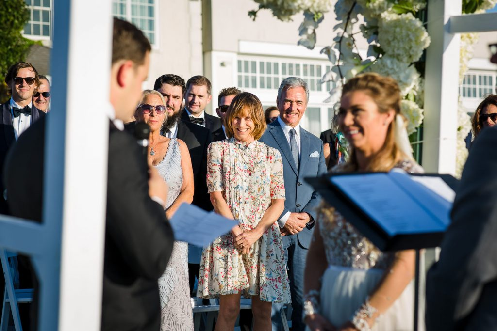 Guest reaction during wedding ceremony