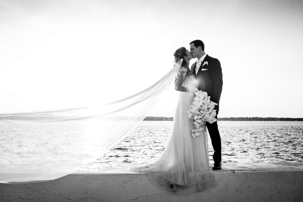 black and white photo of a bride and groom