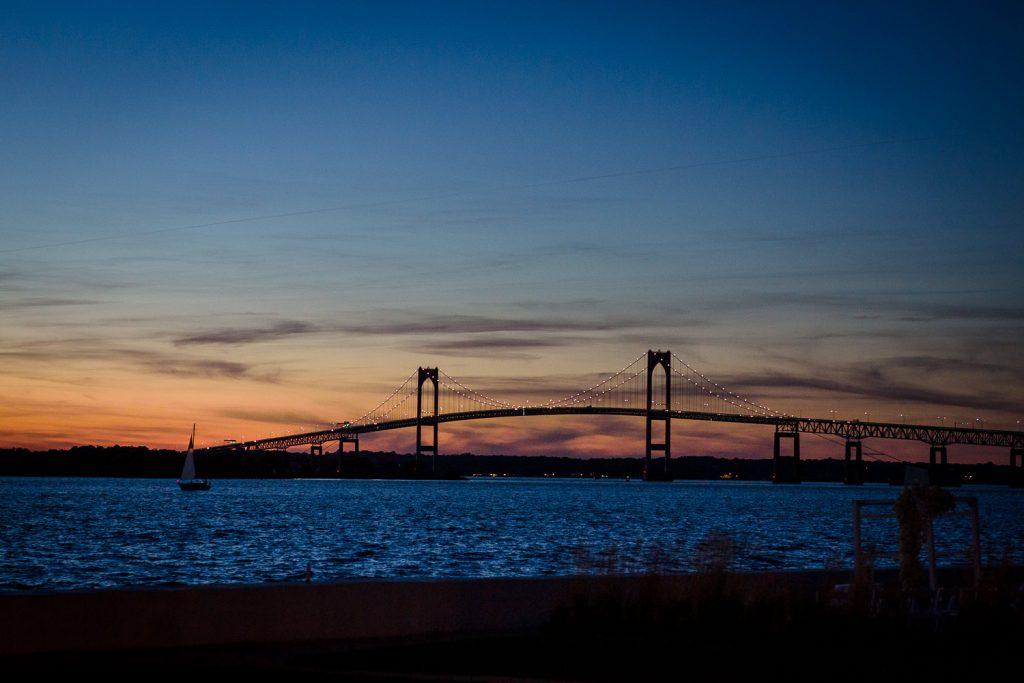 newport bridge at sunset from goat island
