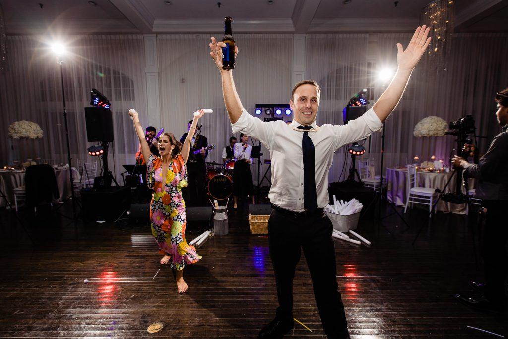 wedding guests dancing at belle mer