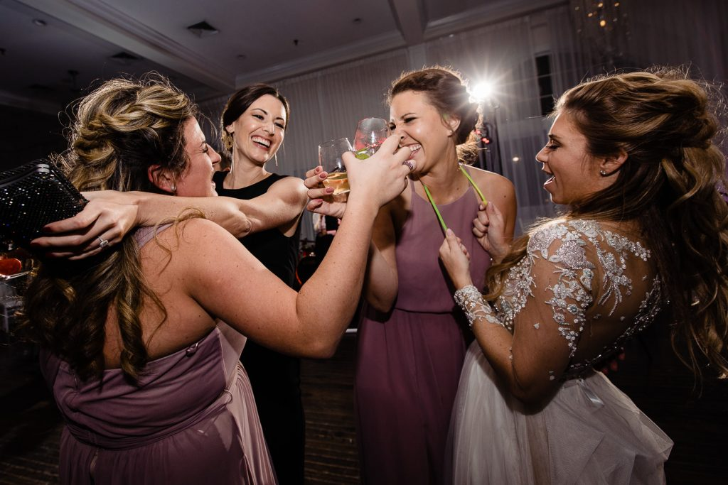bride dancing with glow sticks and friends in newport ri