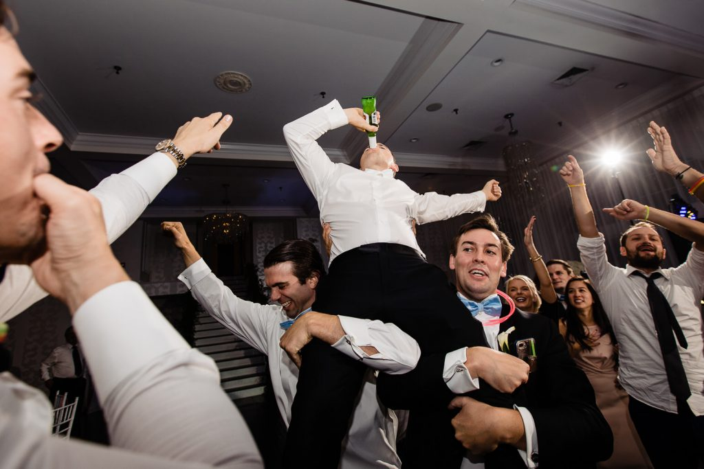 groom dancing at newport wedding reception
