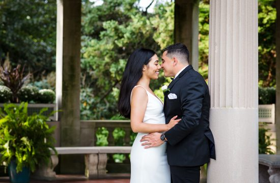 Wedding photo in the formal gardens at eolia mansion in waterford ct