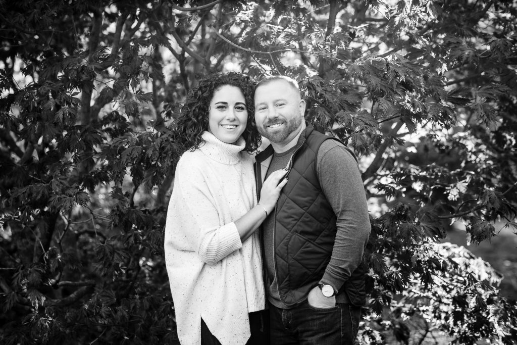 black and white engagement photo of couple