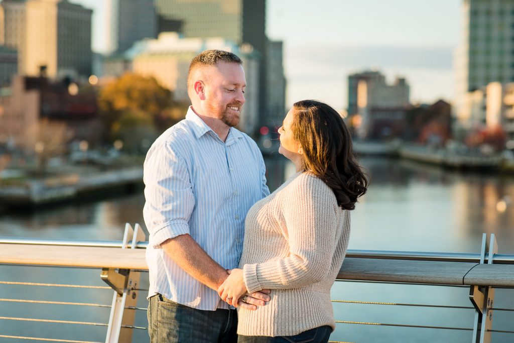 couple takes engagement photos in providence