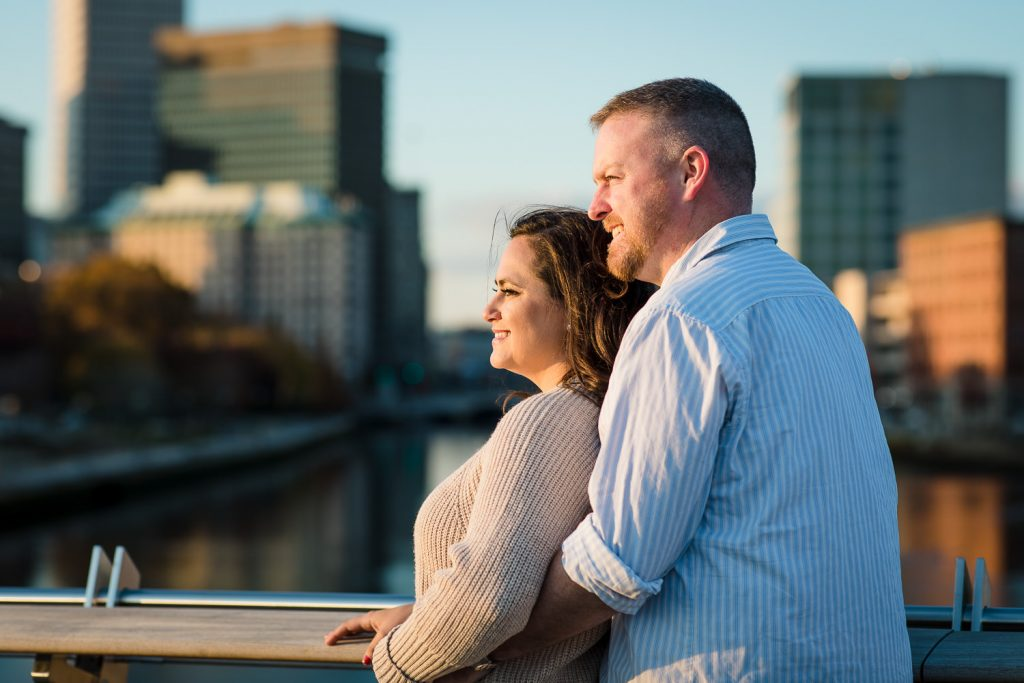 couple on providence pedestrian bridge