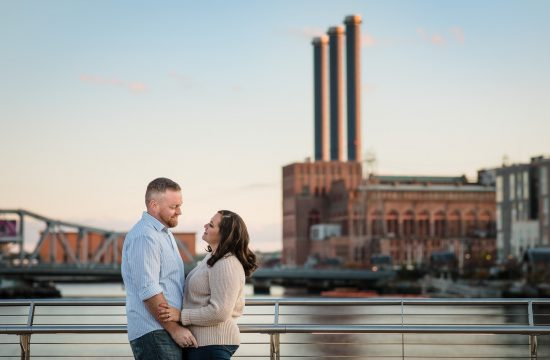 couple takes engagement photos with providence power plant