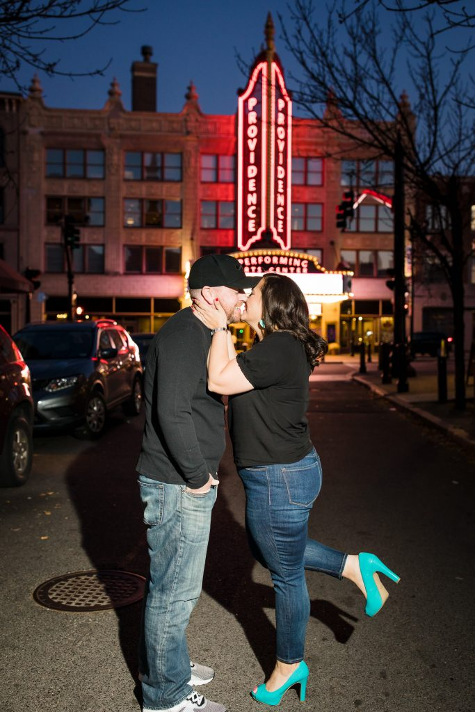 night engagement photo in front of ppac in providence