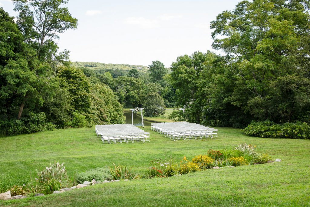 Outdoor wedding ceremony on the lawn at Inn at Mystic wedding