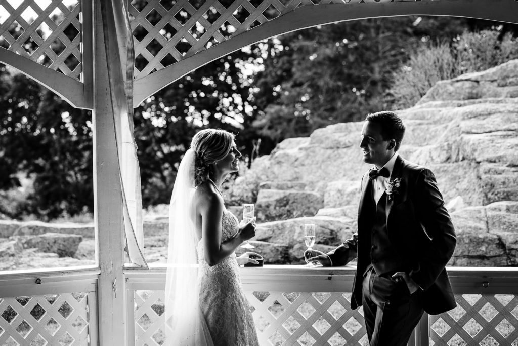 Bride and groom in a gazebo