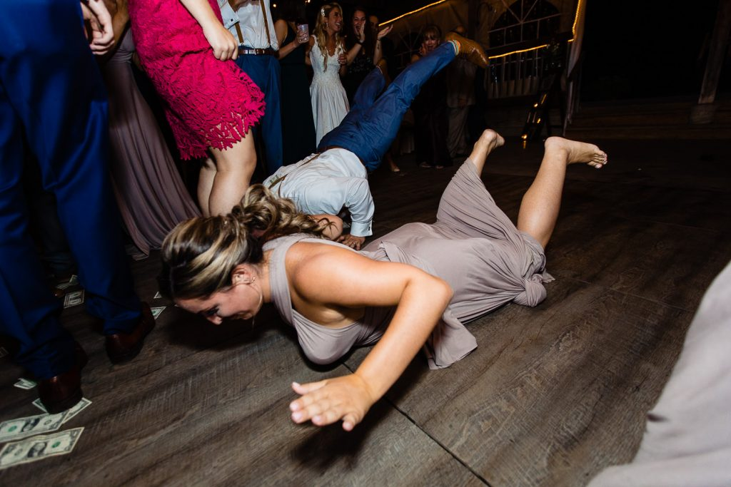 Bridesmaid doing the worm
