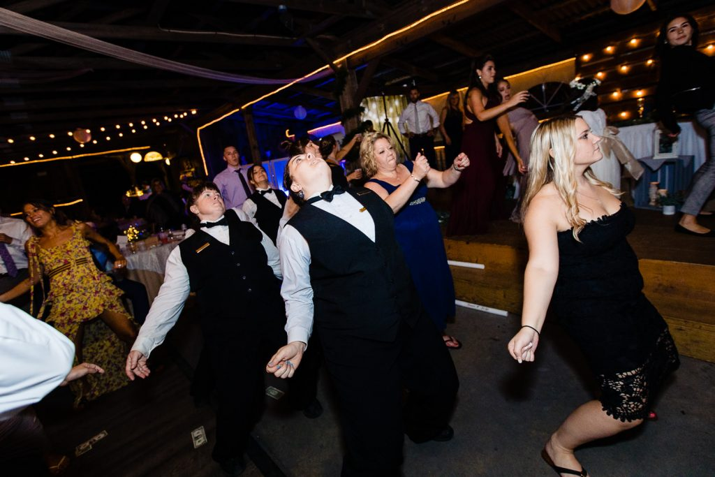 Staff at wrights mill farm wedding dancing